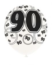 90th Birthday Black Glitz Latex Balloons 12 inch